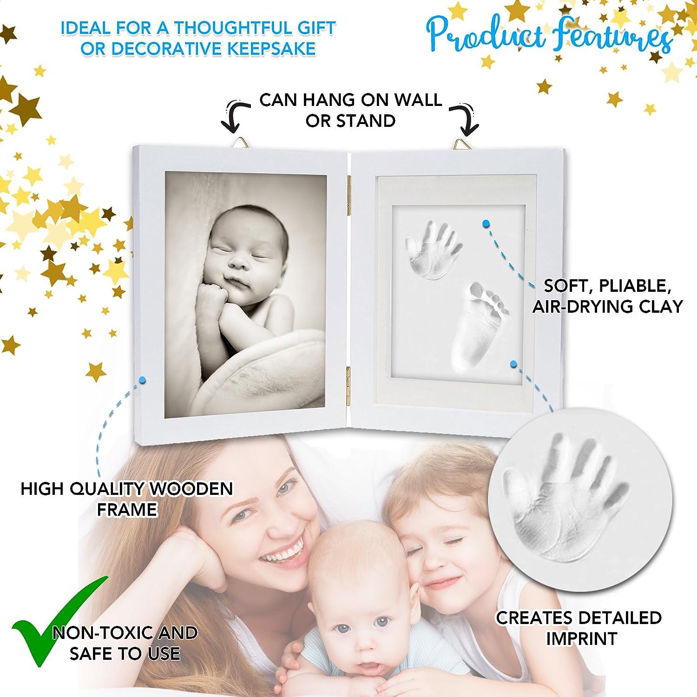 Kit de marco para impresión de pies y manos de bebé - Arcilla de impresión suave y segura para moldear con un marco de madera y una cubierta de cristal ...