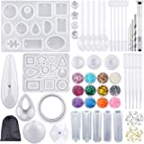 Augshy 98 Pieces Silicone Casting Resin Jewelry Molds and Tools Set with a Black Storage Bag for DIY Jewelry Craft…