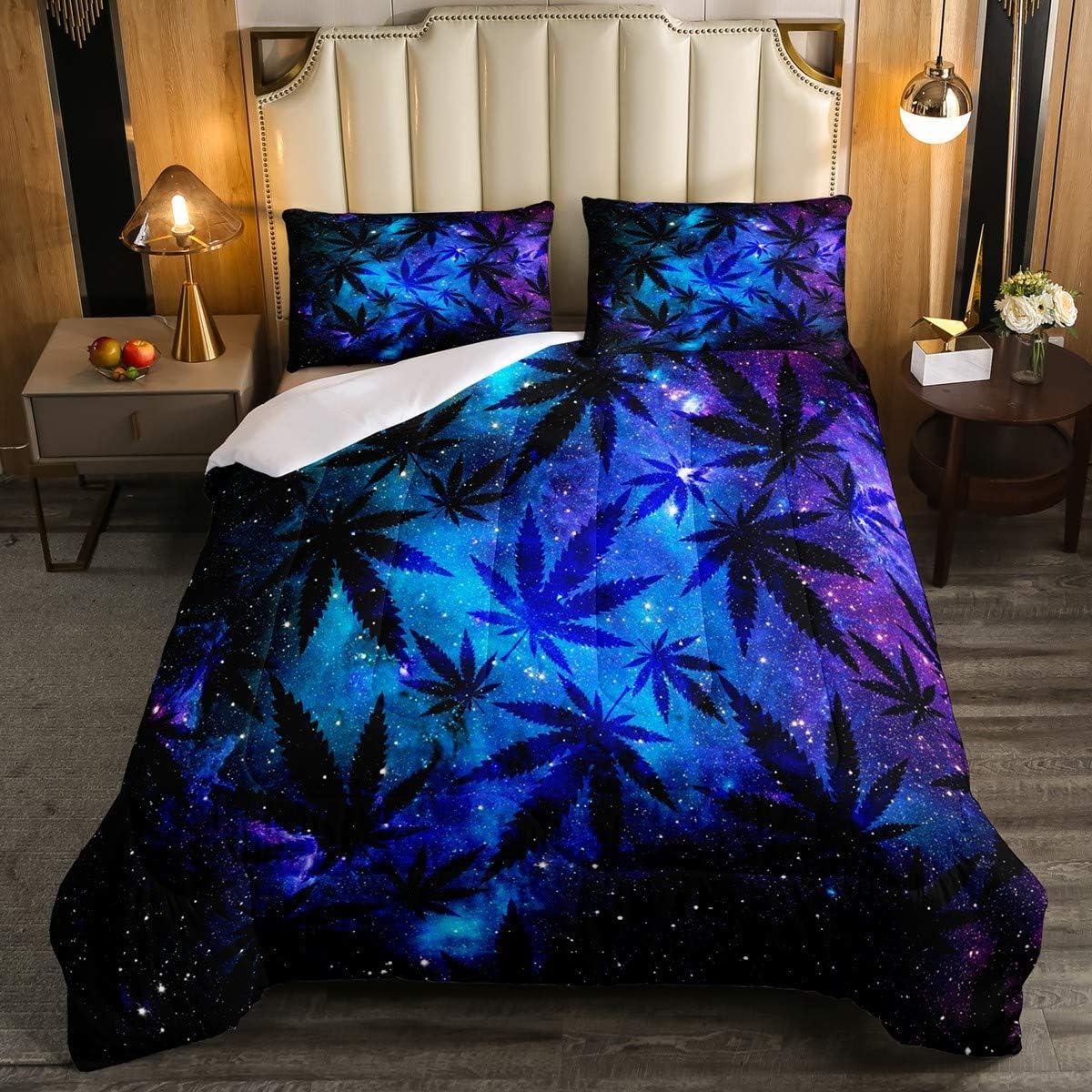 5 ☆ very popular Feelyou Marijuana Leaf 2021 Comforter Set Size Galaxy Cannabis Twin L