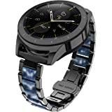 Glebo Compatible with Samsung Galaxy Watch 3 45mm / Galaxy 46mm /Gear S3 Frontier/Classic Smart Watch, 22mm Metal & Resin Bra