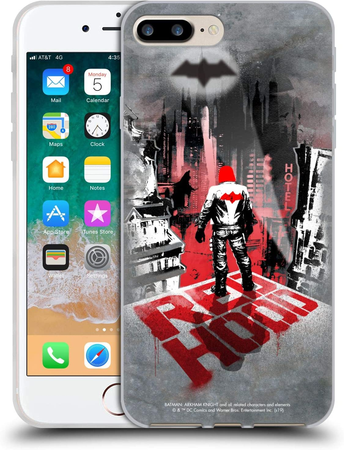 Head Case Designs Officially Licensed Batman: Arkham Knight Red Hood Graphics Soft Gel Case Compatible with Apple iPhone 7 Plus/iPhone 8 Plus