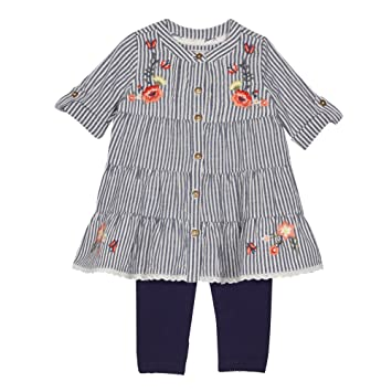 d5acd3d4973a Mantaray Kids Baby Girls' Navy Striped Dress And Leggings Set 0-3 Months:  Mantaray: Amazon.co.uk: Baby