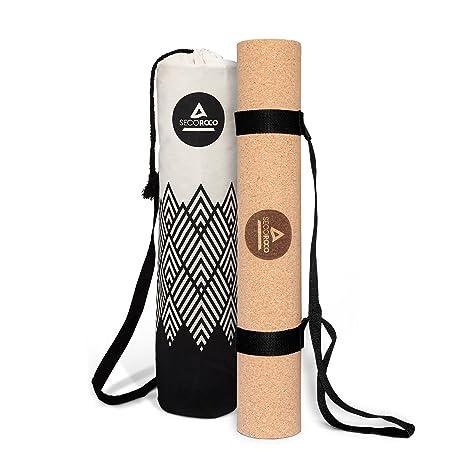 Secoroco Esterilla de Entrenamiento y Yoga Corcho y Caucho de 5 mm de Grosor de Materiales 100% ecológicos, Naturales y Antideslizantes. Incluye Bolsa ...