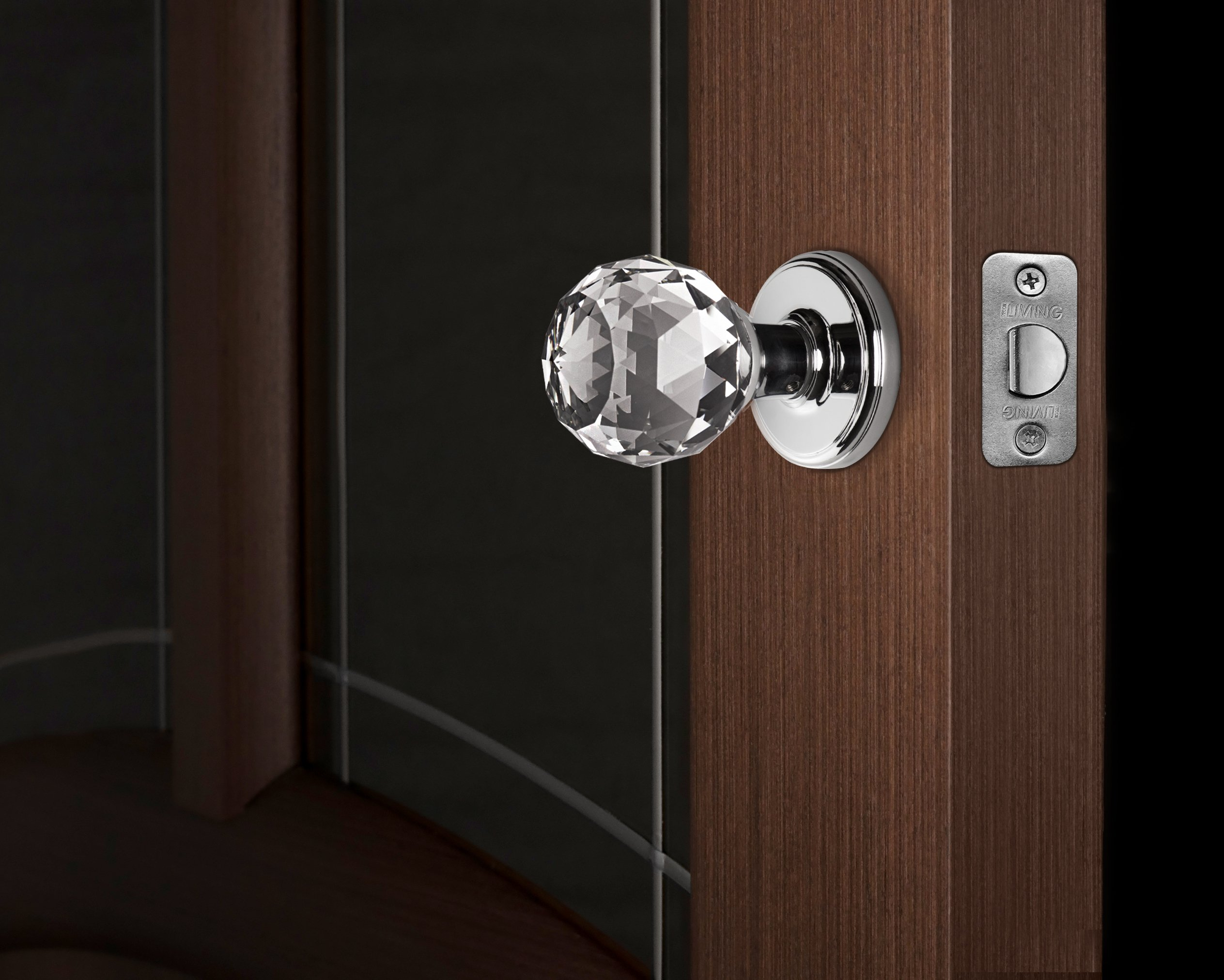 Decor Living, AMG and Enchante Accessories Faceted Crystal Door Knobs with Lock, Privacy Function for Bed and Bath, IRIS Collection, Polished Chrome by DECOR LIVING (Image #4)