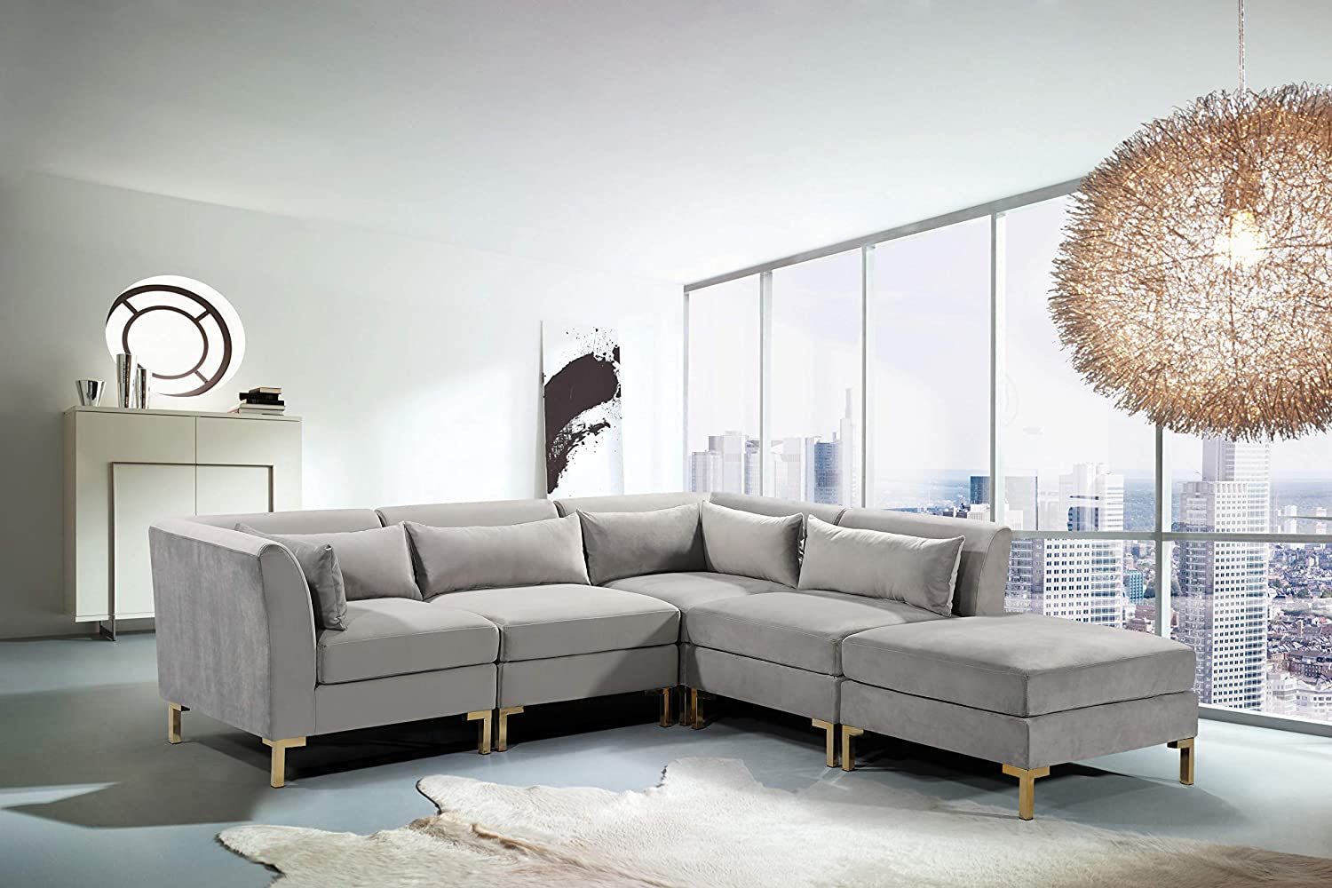 Iconic Home FSA9258-AN Girardi Modular Chaise Sectional Sofa Velvet  Upholstered Solid Gold Tone Metal Y-Leg with 6 Throw Pillows Modern  Contemporary ...