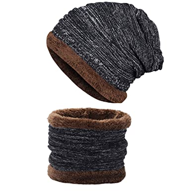 7d01d36b991 Yidarton Unisex Knitted Hat and Circle Scarf Skiing Hat Winter Beanie Hat  Warm Outdoor Sports Hat Sets (A-Black)  Amazon.co.uk  Clothing