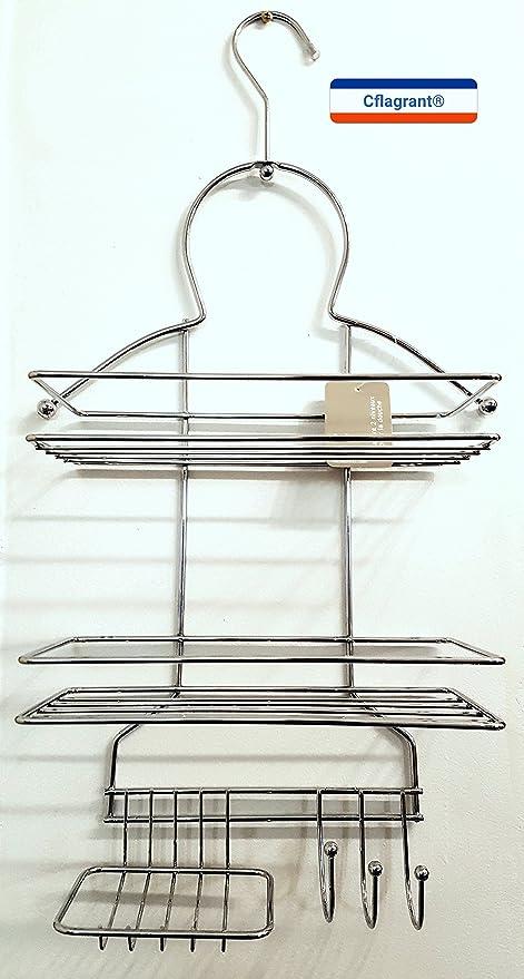 Cflagrant® - Organizador de ducha, con perchas y espacio ...