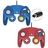 Controle Gamecube, gamepad com fio para console Nintendo Wii, Blue & Red