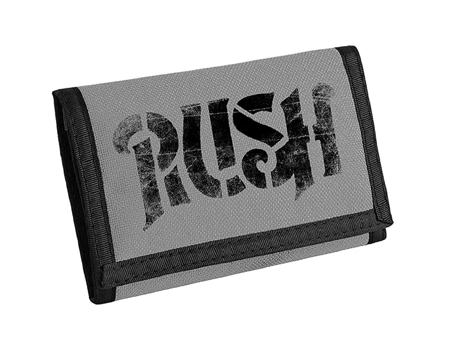 Amazon com rush wallet classic vintage band logo 2112 official grey bifold size one size play it wear it