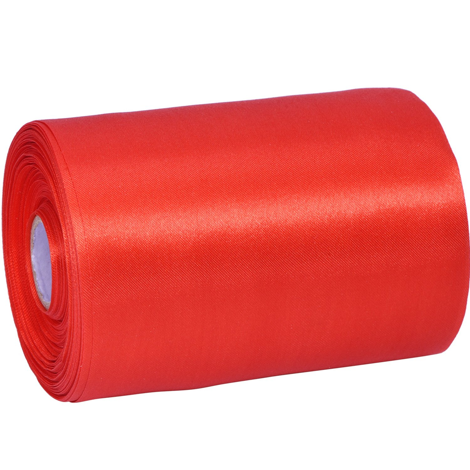 Wide Satin Ribbon Solid Color Decoration Ribbon Single-sided Craft Ribbon, Red, 22 Yard Outus