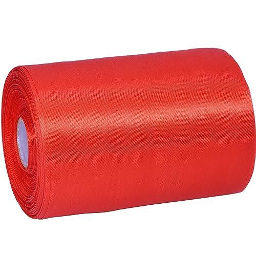 Wide Satin Ribbon Solid Color Decoration Ribbon Single-sided Craft Ribbon, Red, 22 Yard