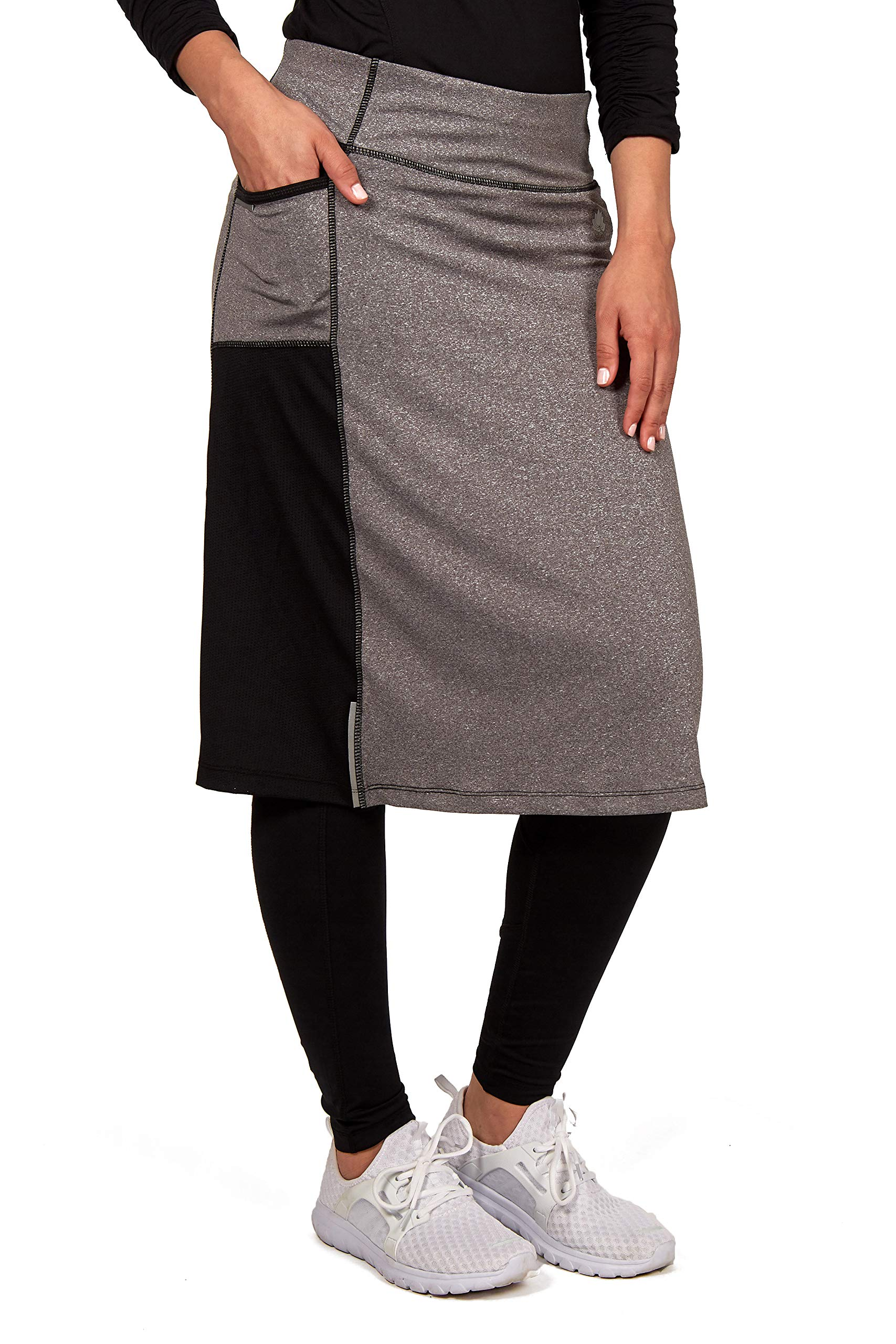 Color Block Ankle Snoga Midi Athletic Skirt with Pockets, Grey/Black - XS