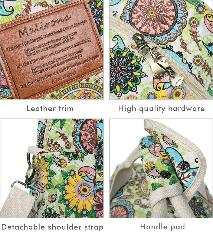 Malirona Canvas Overnight Bag Women Weekender Bag Carry On Travel Duffel Bag Floral Design (Flower) by Malirona (Image #6)