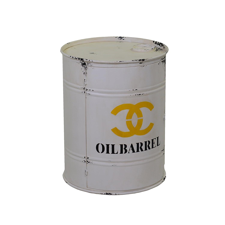 Vacchetti Giuseppe 8034010000 Mobiletto Oil Barrel, 1 Anta, Tondo, Metallo, Bianco, 48x48x60 cm