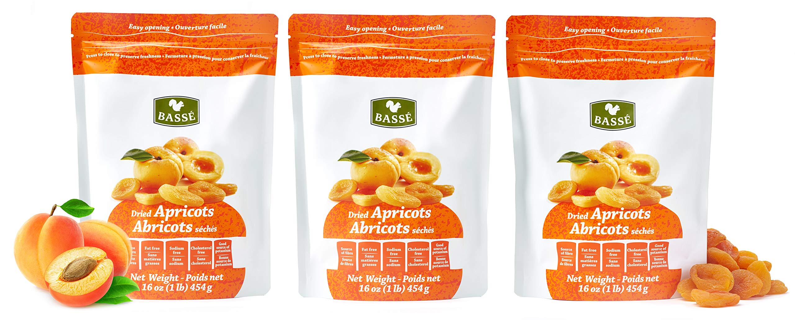 Basse Fruit Dried Apricots 3 Resealable Apricot bags (1 Pound each)