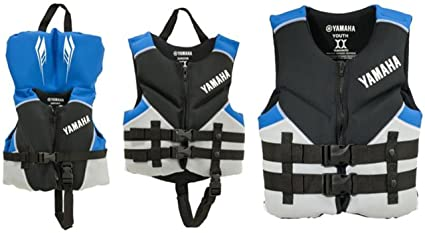 Amazon Com Oem Yamaha Boys Blue Kids Neoprene Life Jacket Vest