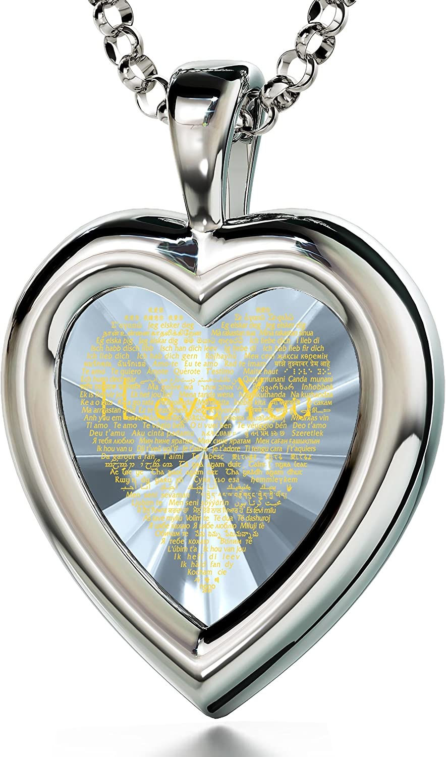 "925 Sterling Silver Heart Pendant I Love You Necklace 24k Gold Inscribed in 120 Languages in Miniature Text on Sparkling Brilliant Cut Heart-Shaped Cubic Zirconia Gemstone, 18"" Rolo Chain"
