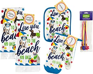 Nantucket Home Beach Dogs Kitchen Dish Towels Pot Holder Oven Mitt Set, 4pc: Colorful Love You to The Beach and Back Summer Ocean Fun