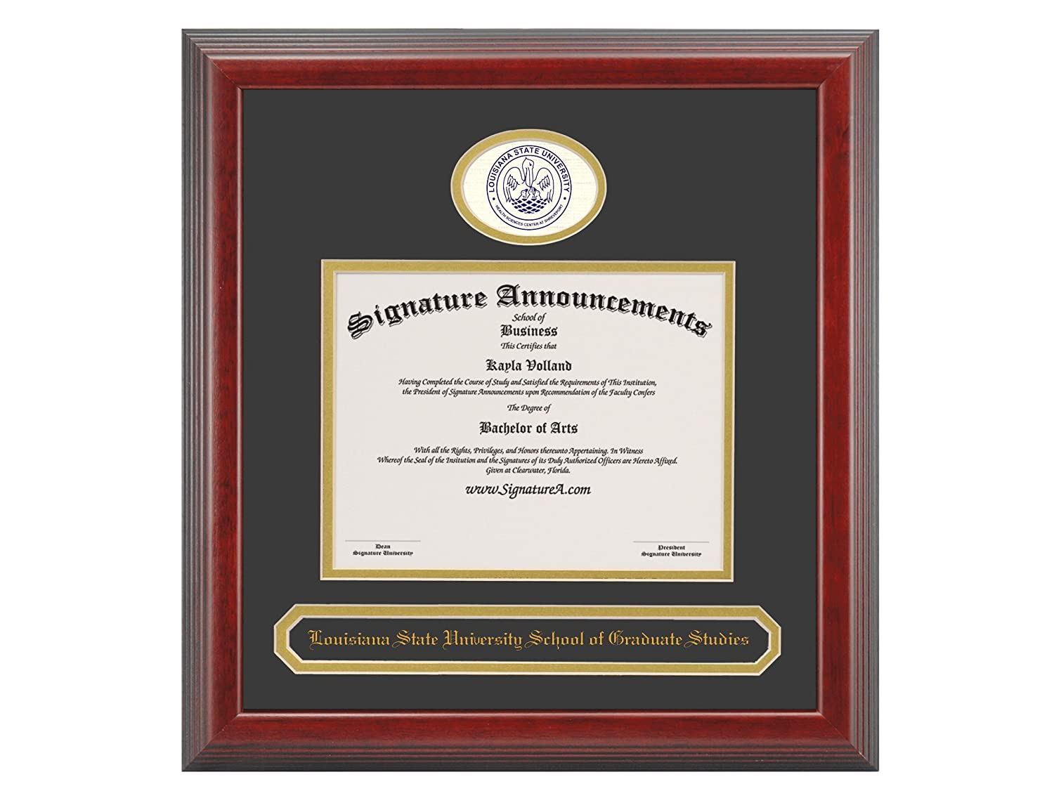 Signature Announcements Louisiana-State-University-School Studies Undergraduate Professional//Doctor Sculpted Foil Seal /& Name Graduation Diploma Frame Cherry 16 x 16