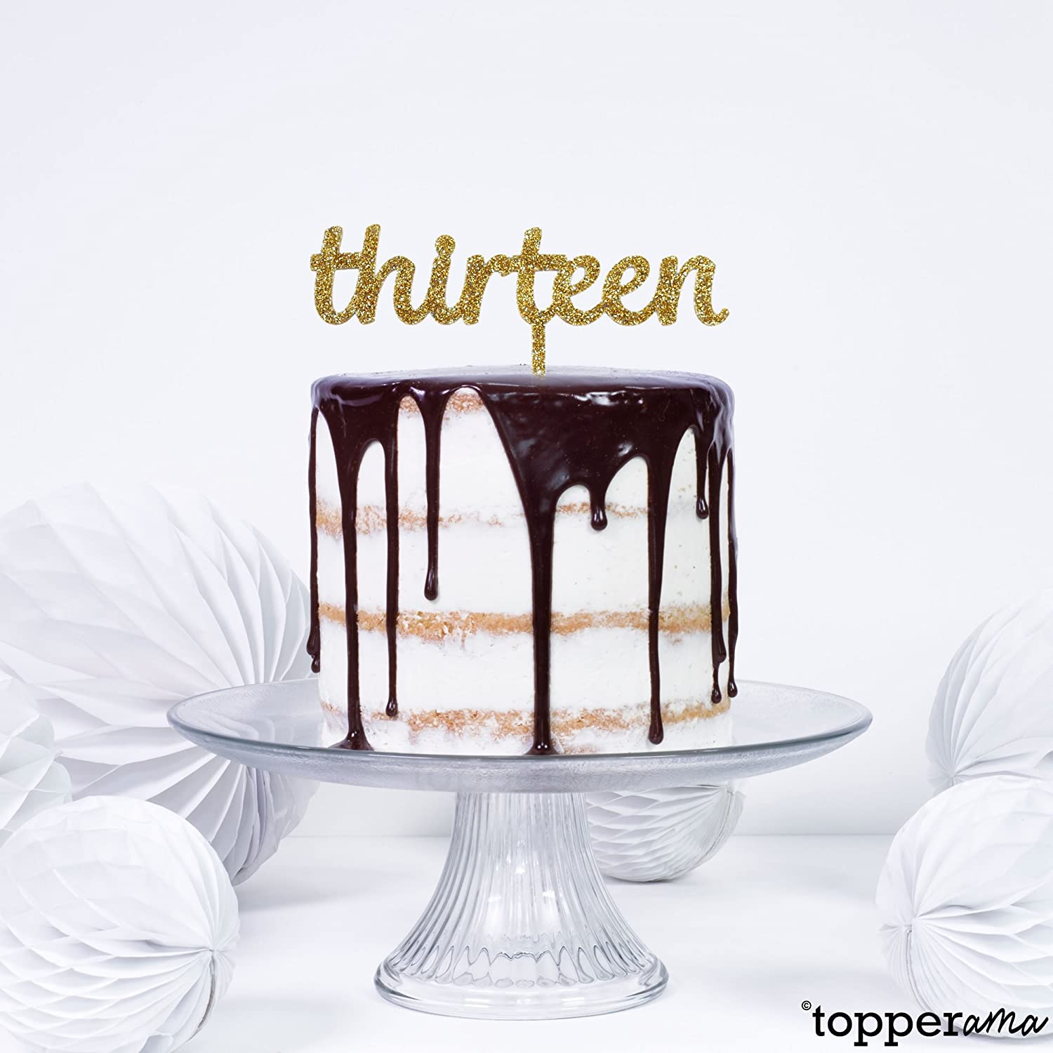 Thirteen 13 13th Age Birthday Cake Topper by Topperama (3mm Gold Glitter  Acrylic)