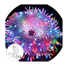 200LED String Lights 66ft 20M Memory Function Twinkle Decorative Lights 8 Flashing Changing Modes Safe UL Indoor/Outdoor Transparent Line Fairy Lights for Christmas Festival Decoration, Colorful