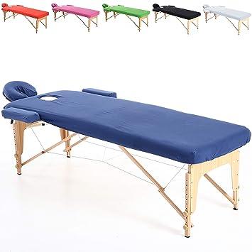 Beltom Funda de algodón para Mesa de masajes 195 x 70 cm. - Azul: Amazon.es: Hogar