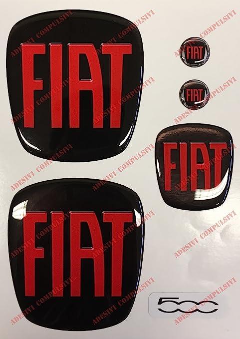 Logo Fiat 500 Anteriore, Posteriore + Volante + 2 Stemmi per