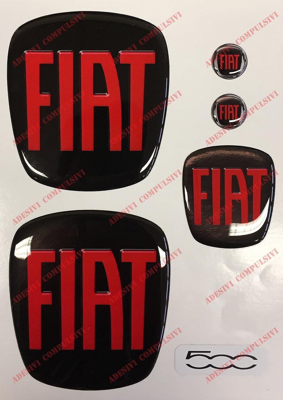 Logo Fiat 500 avant, arriè re + volant + 2 blasons pour porte-clé s. Pour capot et coffre. Autocollants en ré sine, effet 3D. Couleurs : noir et rouge Adesivi Compulsivi