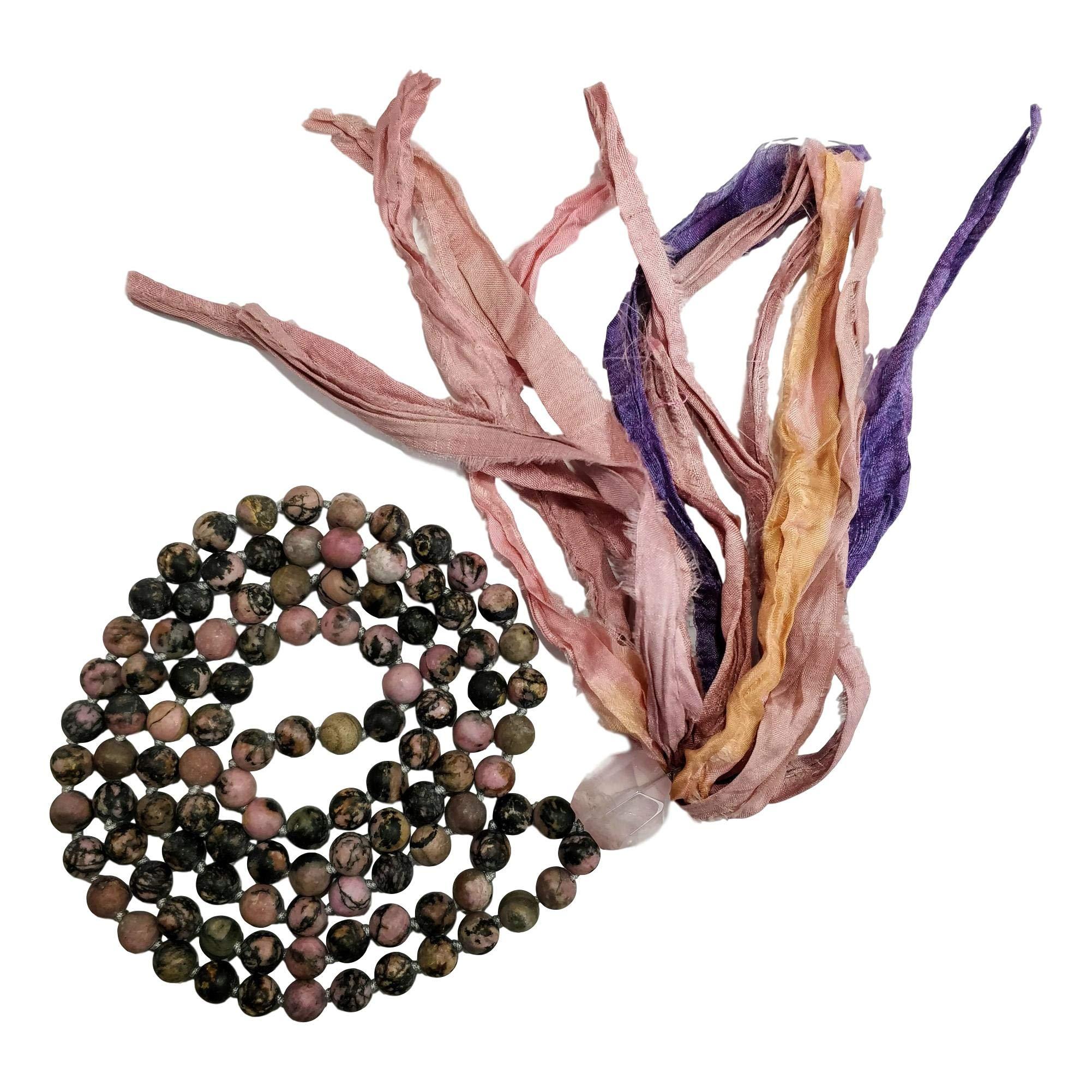 Live Radiantly 108 Mala Bead Necklace - 8mm Matte Rhodonite Stones - Rose Quartz Guru Bead - Sari Silk Tassel - Meditation, Mindfulness, Yoga - Mala to Foster Forgiveness, Healing and Love