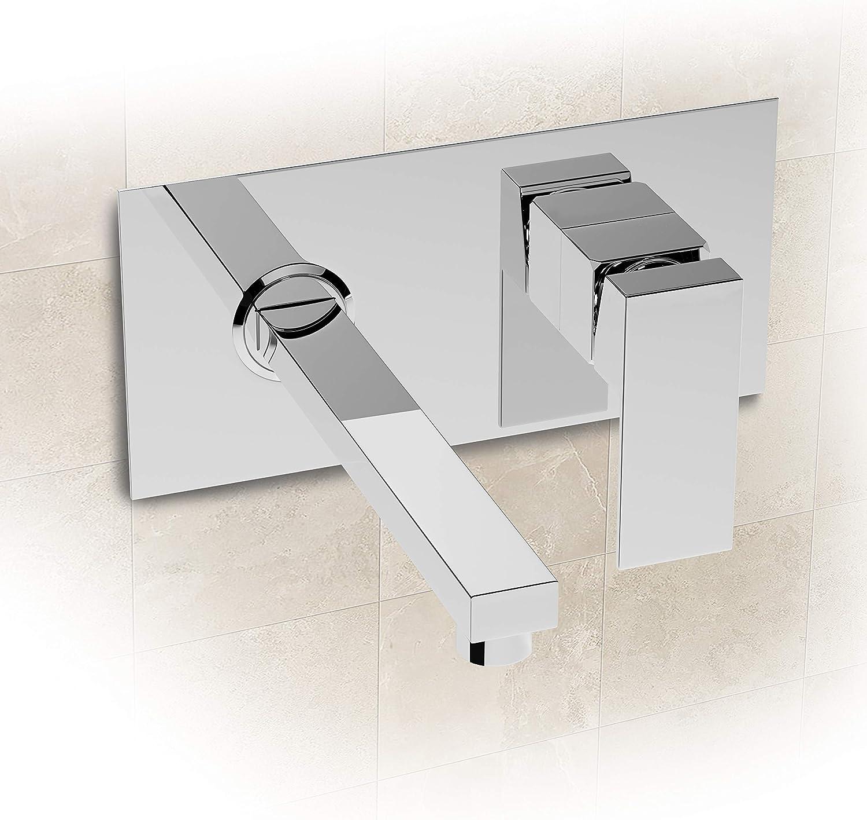 Grifo de pared para baño (2 orificios, cromado)
