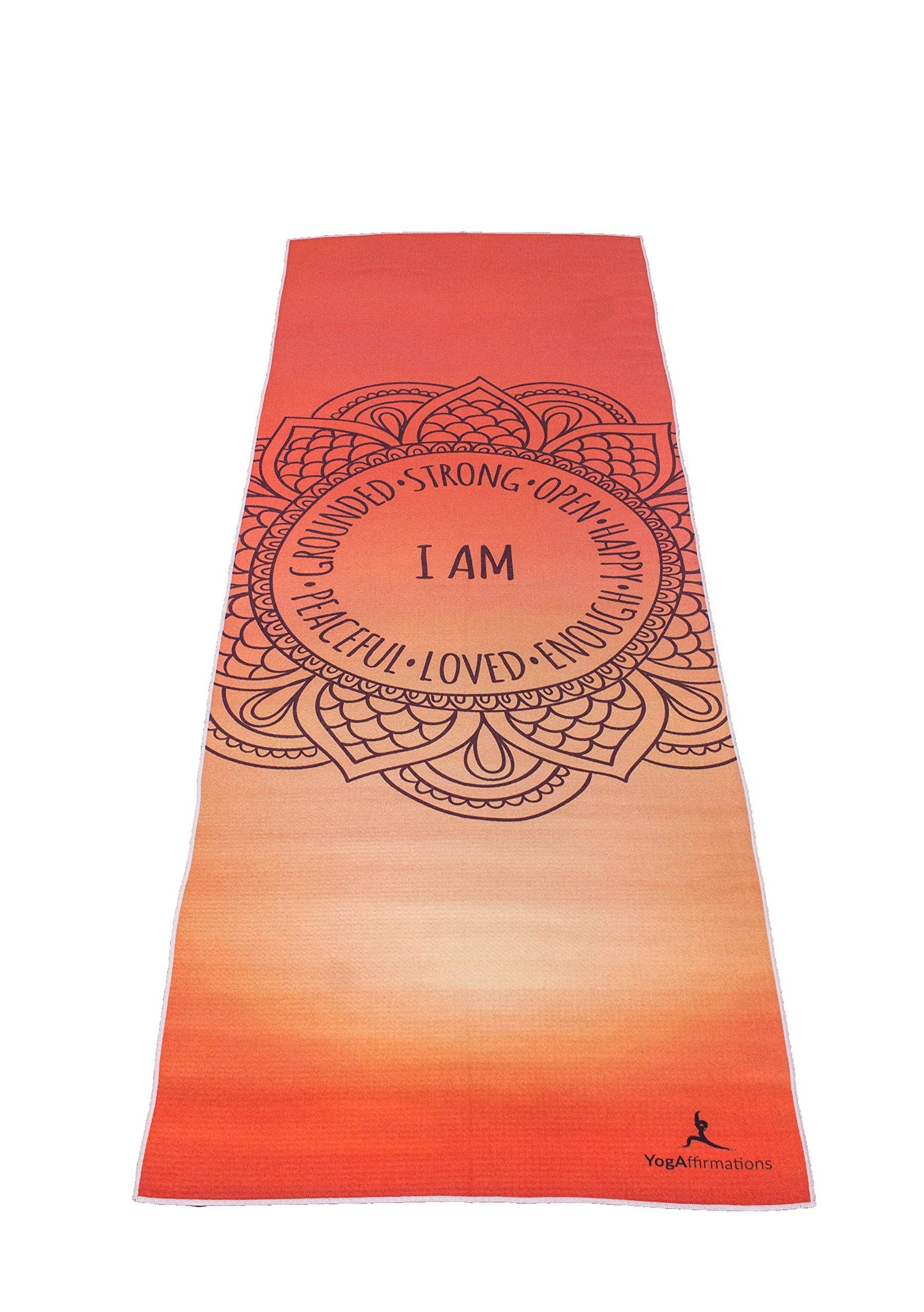 Premium Quality Yoga Mat Towel by YogAffirmations - Non Slip, Silicone Dots, Ultra Soft Microfiber, Wicking Sweat Absorbent - Great for Pilates, Meditation, Hot Yoga - 24'' x 72'' Orange Yoga Towel