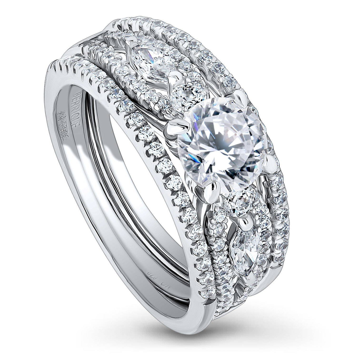 BERRICLE Rhodium Plated Sterling Silver Solitaire Engagement Wedding Ring Set Made with Swarovski Zirconia Round 1.81 CTW Size 5 by BERRICLE
