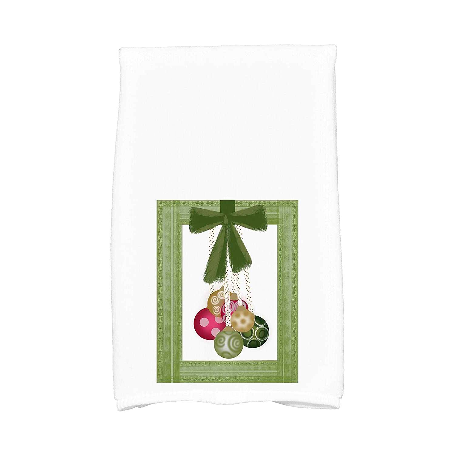 E by design KTHG959GR10 Frame It up, Geometric Print Kitchen Towel, 16 x 25, Green
