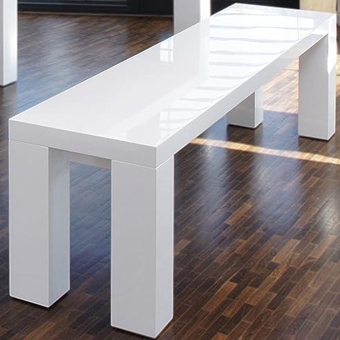 Sitz-Bank weiß Hochglanz aus MDF 180x35cm recht-eckig | Luca ...