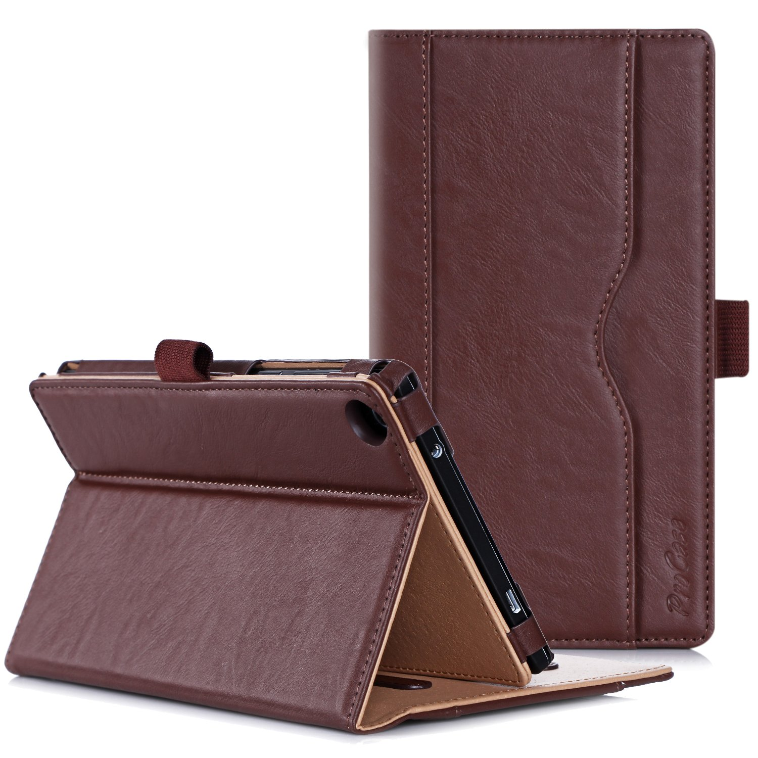 ProCase Lenovo Tab 2 A7-30 Case - Leather Stand Folio Case Cover Lenovo Tab 2 A7-30 (A3300) 7-inch Android Tablet Multiple Viewing Angles, Document Card Pocket (Brown)
