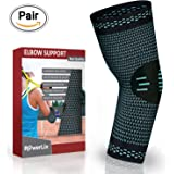 1 DAY SELL! PowerLix Elbow Sleeve Compression Support Brace for Tendonitis, Tennis and Golfers Elbow Treatment, Arthritis, Workouts, Weightlifting - Reduce Joint Pain During ANY Activity! ( Pair)