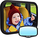 Baby Car Mirror for Back Seat | View Rear Facing Infant in Backseat | Crash Tested Best Newborn Safety Secure Double-Strap | Free Cleaning Cloth & eBook | Baby Shower Gift Box
