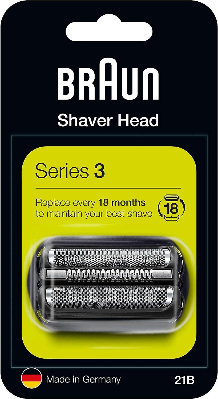 Braun Series 3 21B Cabezal de Recambio para Afeitadora Eléctrica, Compatible con las Afeitadoras Series 3, Negro
