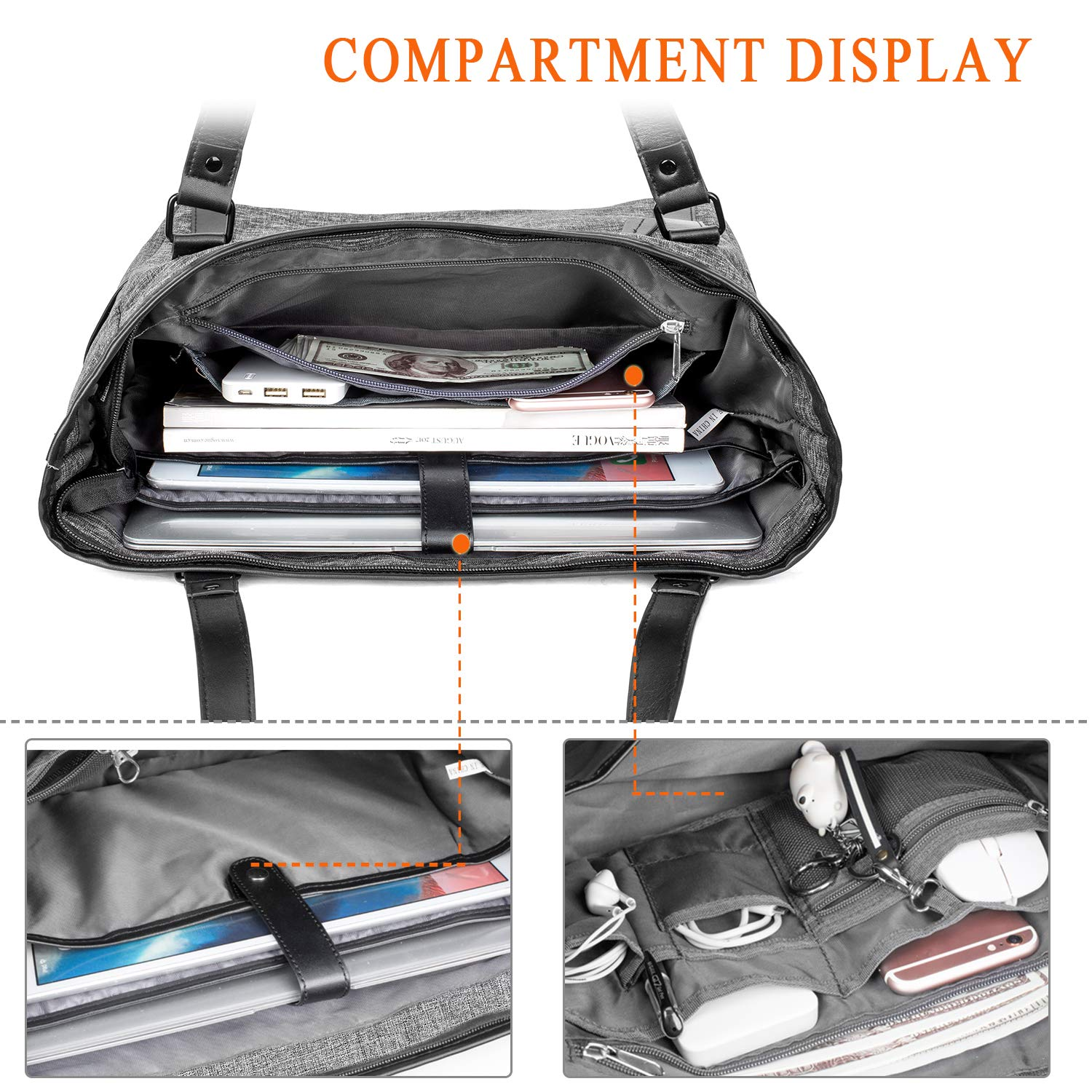 15.6 Inch Laptop Tote Bag Lightweight Stylish Satchel for Women Durable Nylon Travel Bag Casual Shopping Handbag Large Capacity Business Briefcase Multi-Function Zipper Shoulder Bag,Black Suppets