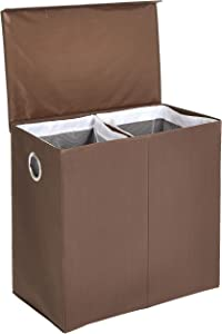 AmazonBasics Collapsible Laundry Hamper Basket Dual Sorter with Magnetic Lid - Brown
