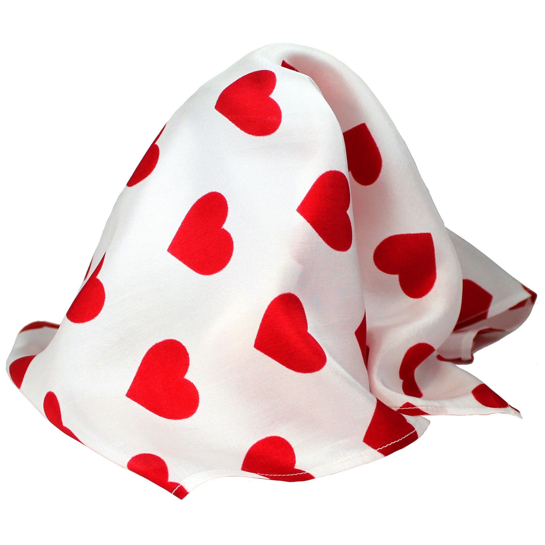 "White Silk Valentine Pocket Square Handkerchief by Royal Silk – 16"" Sq. Red Heart Design"