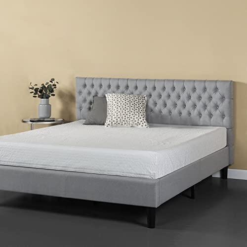 Zinus Upholstered Grand Button Tufted Platform Bed Mattress Foundation Easy Assembly Strong Wood Slat Support Grey, King