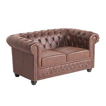 Hochwertiges Chesterfield Sofa 2 Sitzer Vintage Braun Echtes