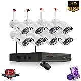 ROBORIX 8 camera wireless wifi IP 8 channel NVR 1MP 720p HD CCTV Security camera kit (1TB Hard Drive included )