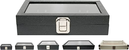 Novel Box Medium Glass Top Black Leatherette Metal Clasp Jewelry Display Case 8.1X4.75X2 + Custom NB Pouch