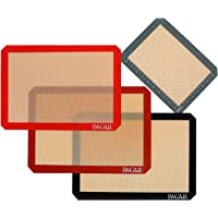 """4 Set Silicone Baking Mat - 3 Thick Half Sheet Liners(11 5/8"""" x 16 1/2"""") and 1 Quarter Sheet Liners (8 1/2"""" x 11 1/2"""") - Professional Grade Non Stick Silicon Liner for Bake Pans & Rolling"""
