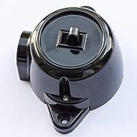 Schakelaar opbouw-aan-uit schakelaar insert, 10 A/250 V, IP20 zwart RETRO bakeliet look ALT schema 1