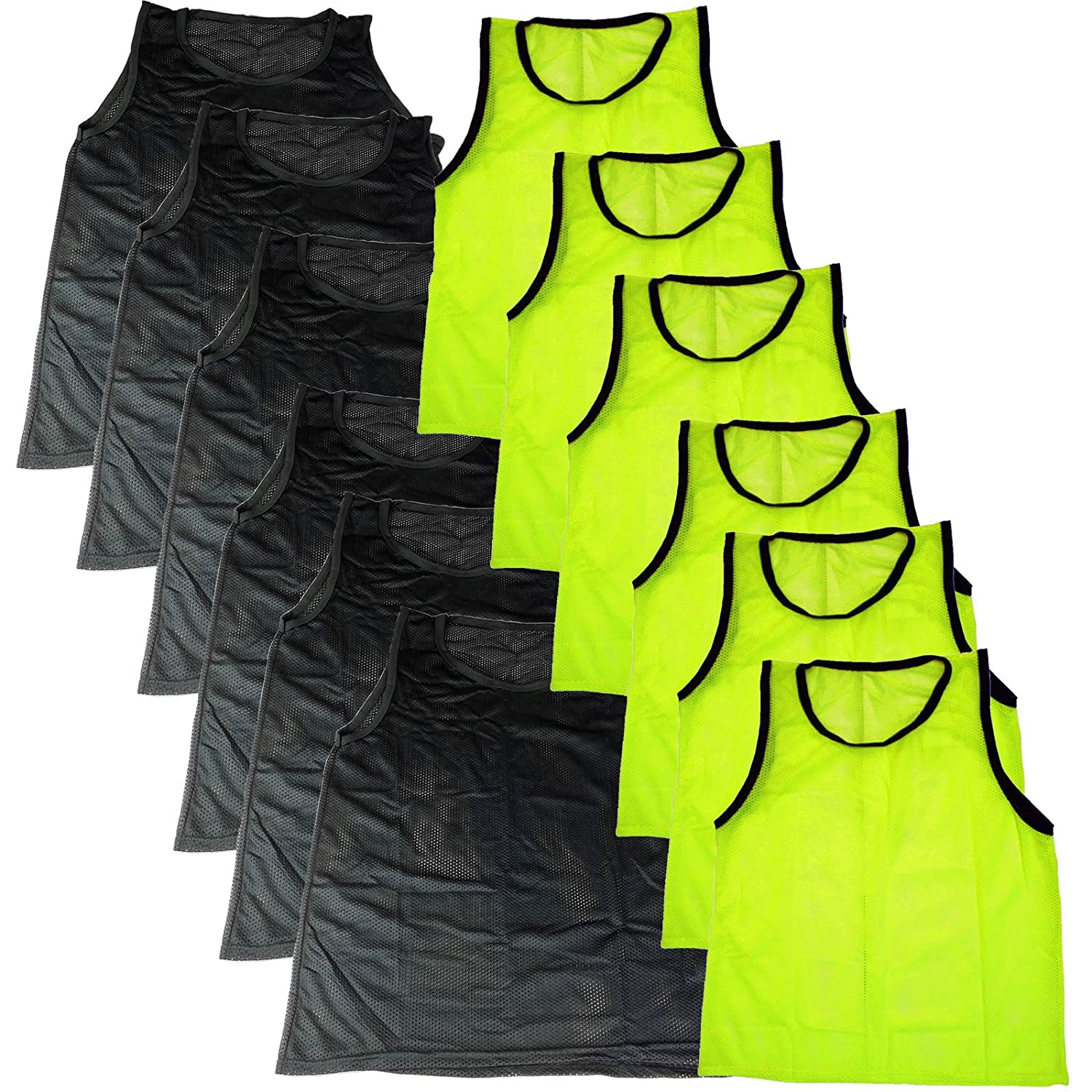 Blue Dot Trading 12 Youth Soccer Training Vests/Pinnies, Yellow & Black