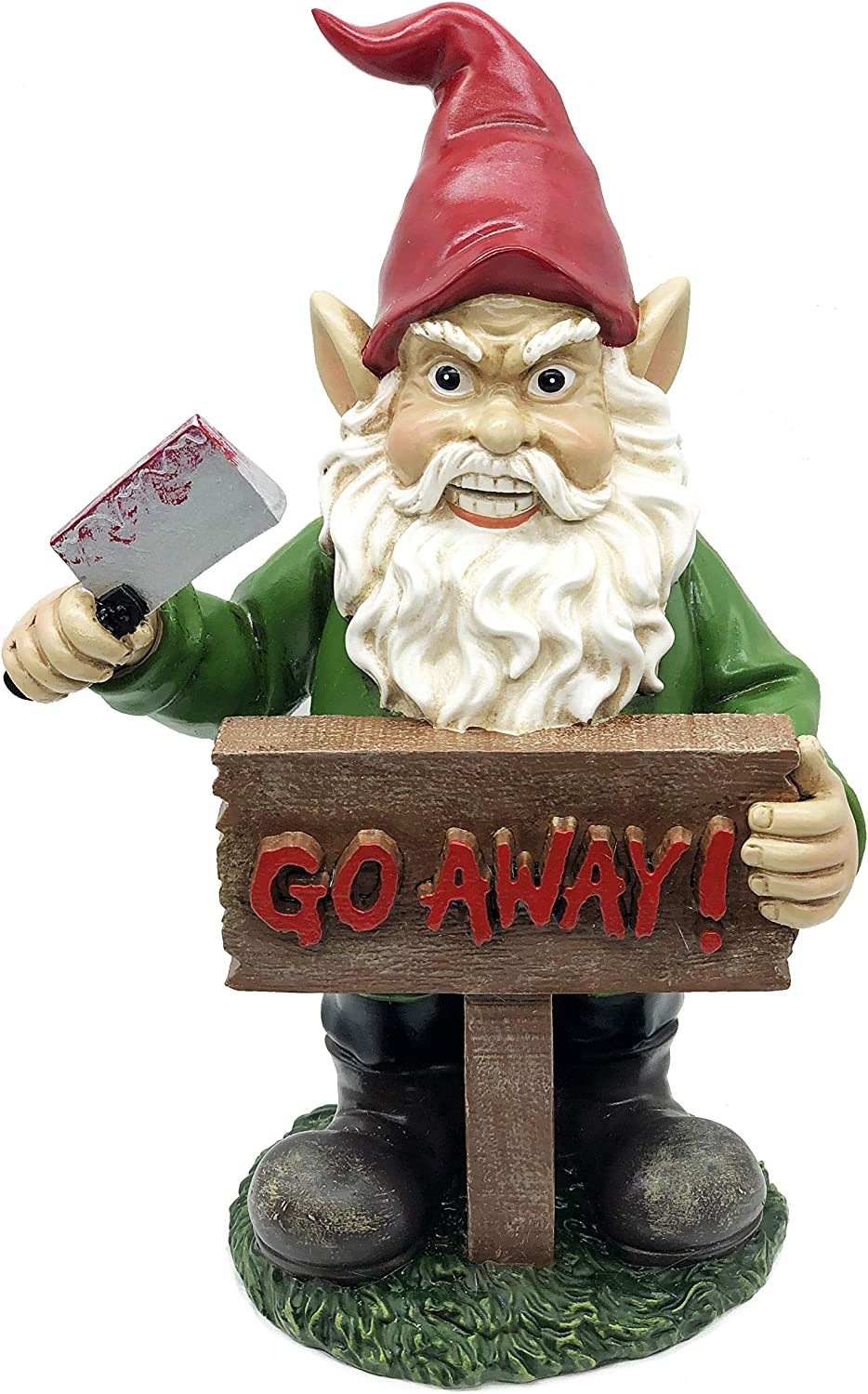 FICITI Angry Gnome with Knife Go Away Garden Lawn Gnome Statue - 10 Inches