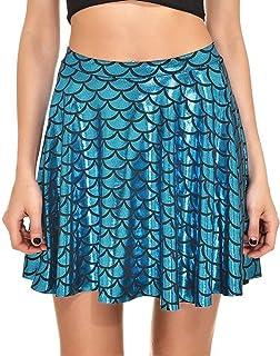 072392913d3 Escamas de Pescado Faldas Faldas de Mujer Plisado Imprimir Escamas de  Sirena Skater Swing Girls Falda